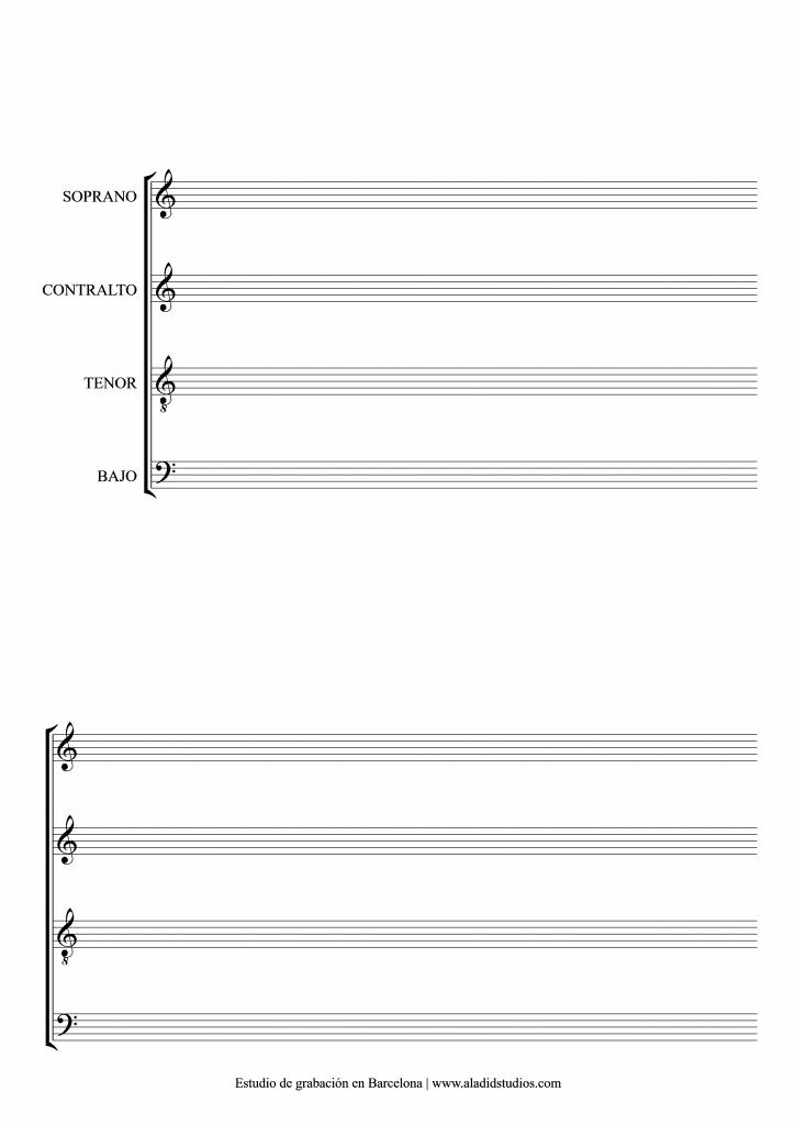 plantilla de pentagramas de coro